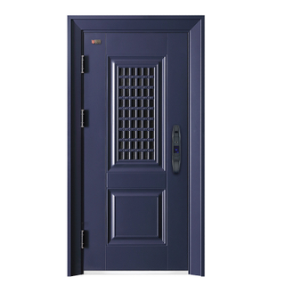 Classic Dark Blue Fancy Steel Security Door