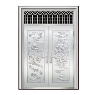 FPL-S50148 Modern Style Security 201/ 304 Stainless Steel Exterior Double Swing Door