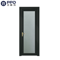 FPL-7010 Black Frame Fiberglass Modern Bathroom Aluminum Alloy Door